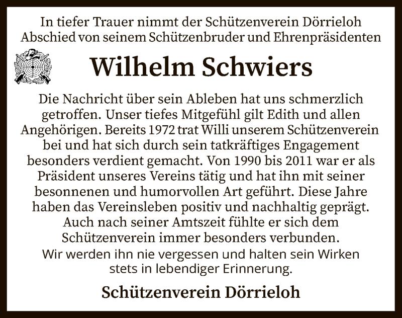 Traueranzeige für Wilhelm Schwiers vom 24.02.2021 aus SYK