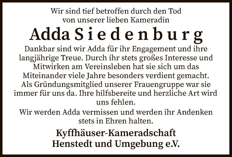 Traueranzeige für Adda Siedenburg vom 27.03.2021 aus SYK