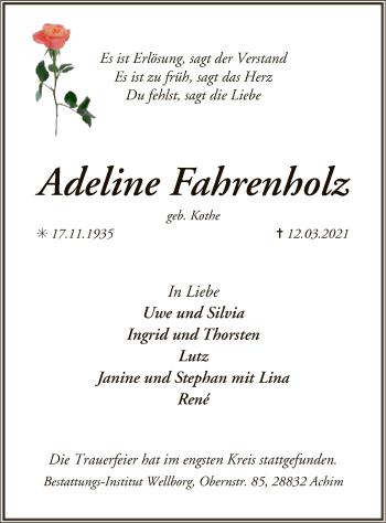 Traueranzeige von Adeline Fahrenholz von SYK