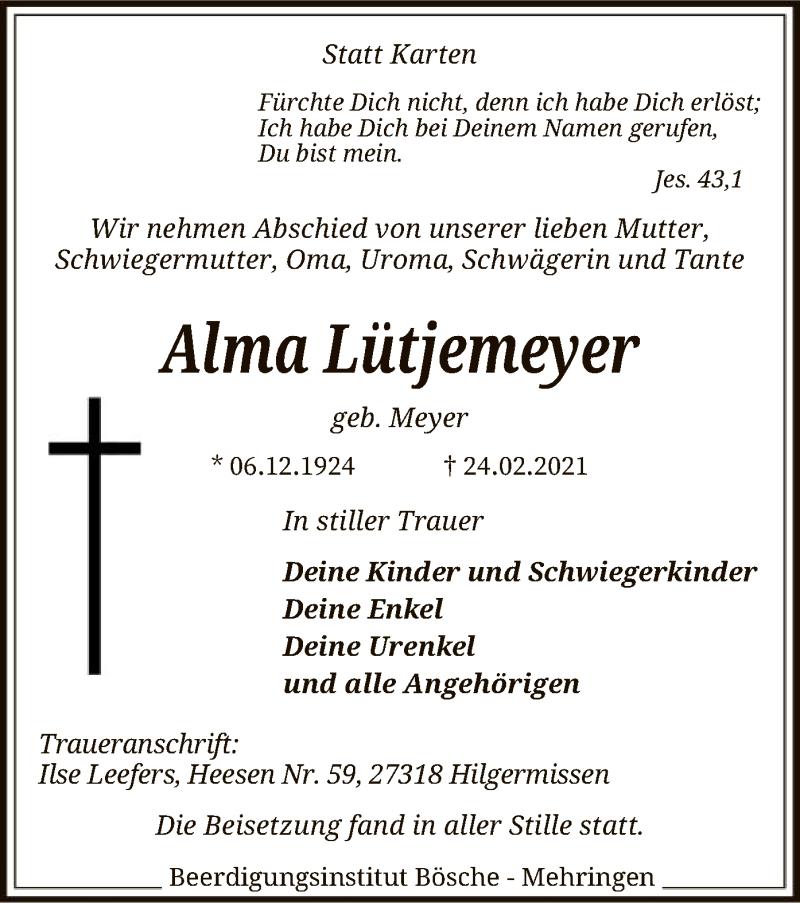 Traueranzeige für Alma Lütjemeyer vom 03.03.2021 aus SYK