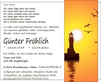 Traueranzeige von Günter Fröhlich von SYK