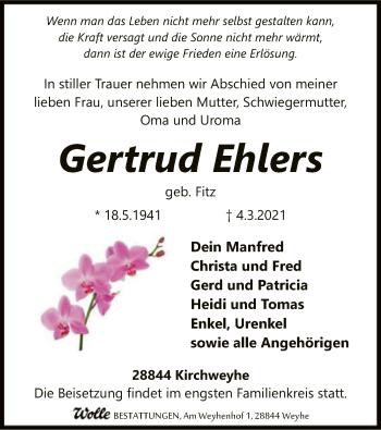 Traueranzeige von Gertrud Ehlers von SYK