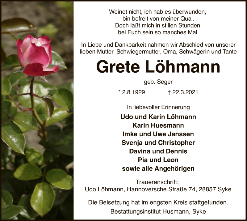 Traueranzeige für Grete Löhmann vom 27.03.2021 aus SYK