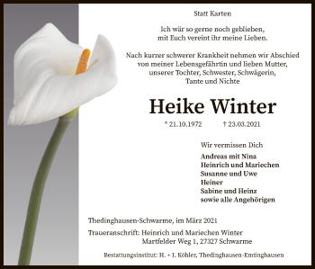 Traueranzeige von Heike Winter von SYK