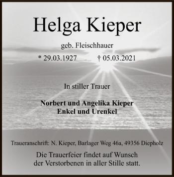 Traueranzeige von Helga Kieper von SYK