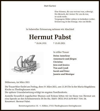 Traueranzeige von Hermut Pabst von SYK