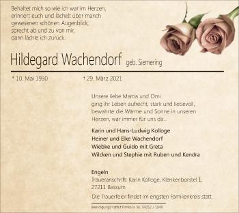 Traueranzeige von Hildegard Wachendorf von SYK