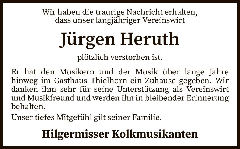 Traueranzeige für Jürgen Heruth vom 19.03.2021 aus SYK