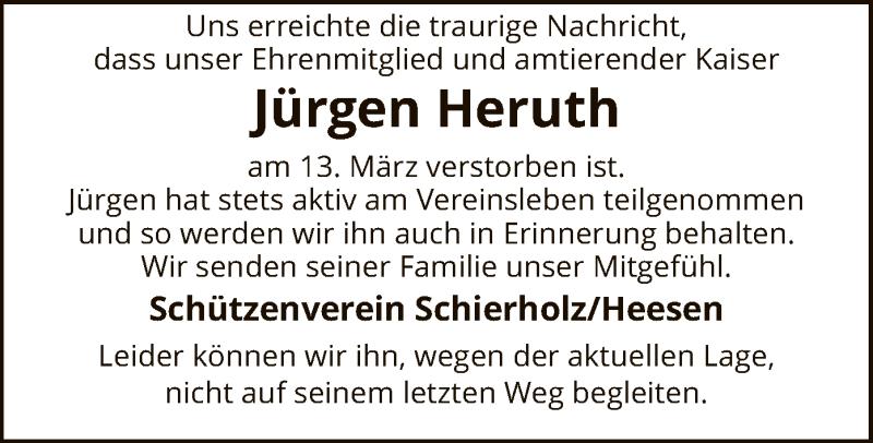 Traueranzeige für Jürgen Heruth vom 20.03.2021 aus SYK