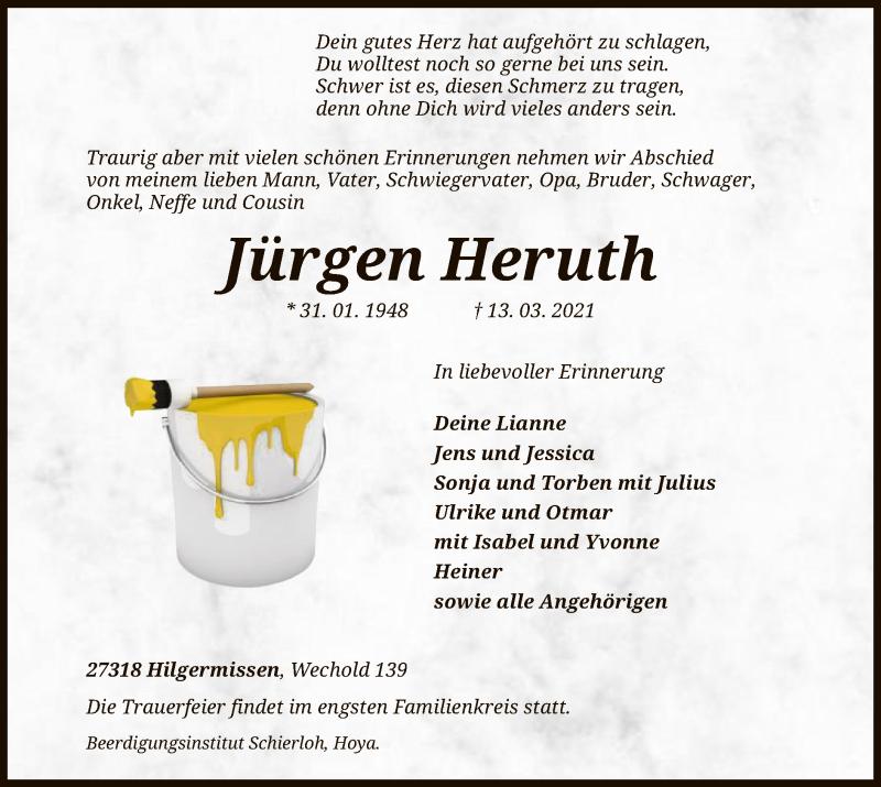 Traueranzeige für Jürgen Heruth vom 18.03.2021 aus SYK