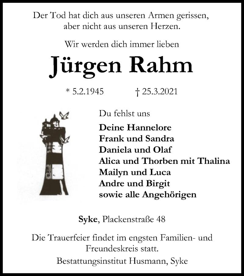 Traueranzeige für Jürgen Rahm vom 30.03.2021 aus SYK