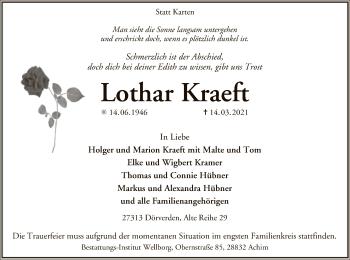 Traueranzeige von Lothar Kraeft von SYK