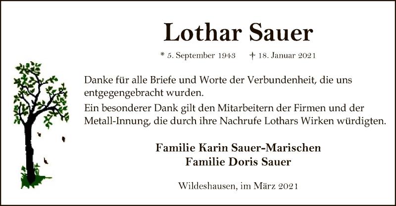 Traueranzeige für Lothar Sauer vom 19.03.2021 aus SYK