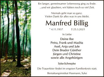 Traueranzeige von Manfred Billig von SYK