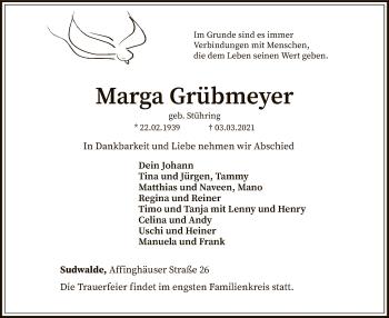 Traueranzeige von Marga Grübmeyer von SYK