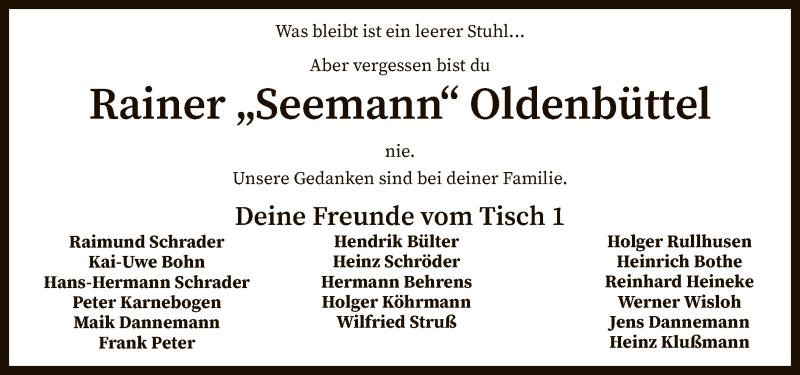 Traueranzeige für Rainer Oldenbüttel vom 31.03.2021 aus SYK