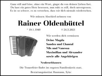 Traueranzeige von Rainer Oldenbüttel von SYK