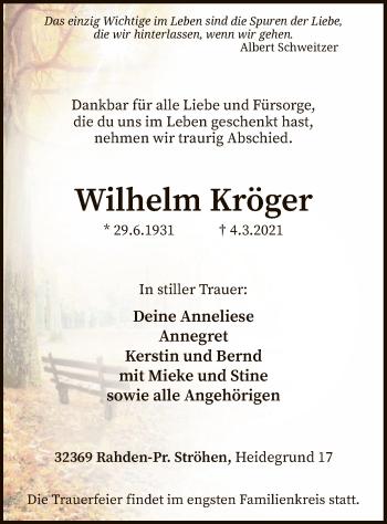 Traueranzeige von Wilhelm Kröger von SYK