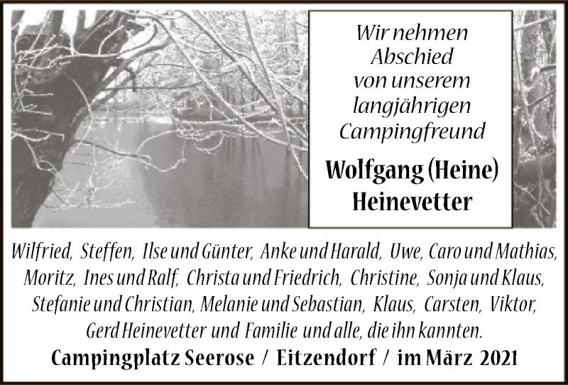 Traueranzeige für Wolfgang Heinevetter vom 13.03.2021 aus SYK