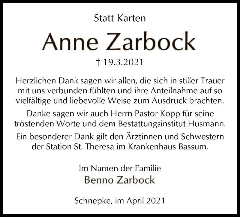 Traueranzeige für Anne Zarbock vom 17.04.2021 aus SYK