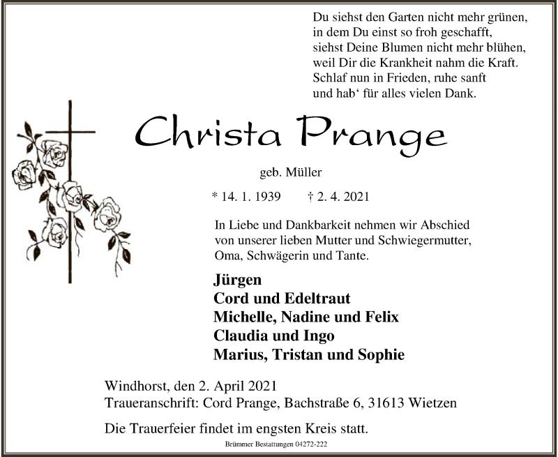 Traueranzeige für Christa Prange vom 07.04.2021 aus SYK
