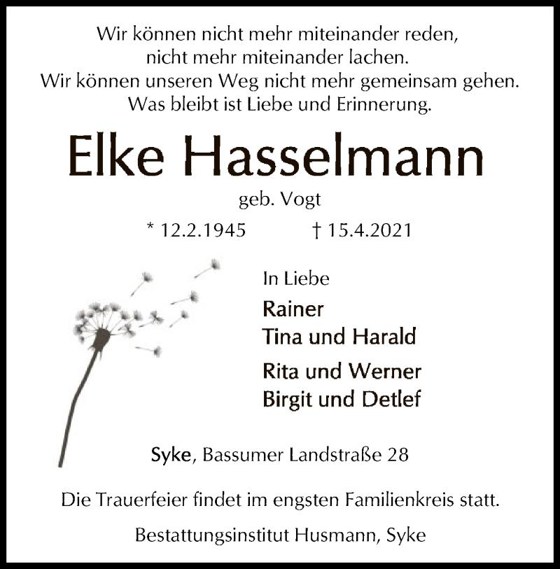 Traueranzeige für Elke Hasselmann vom 20.04.2021 aus SYK