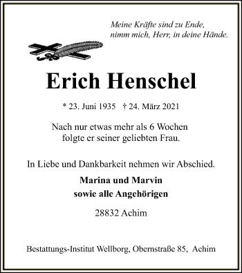 Traueranzeige von Erich Henschel von SYK