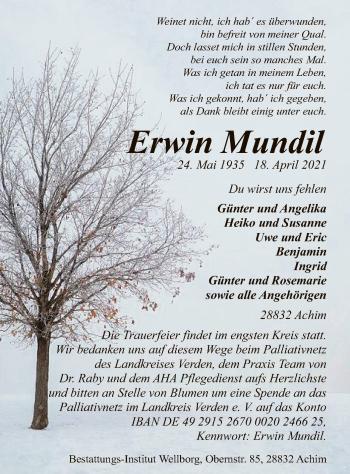 Traueranzeige von Erwin Mundil von SYK