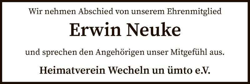 Traueranzeige für Erwin Neuke vom 01.04.2021 aus SYK
