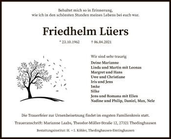 Traueranzeige von Friedhelm Lüers von SYK