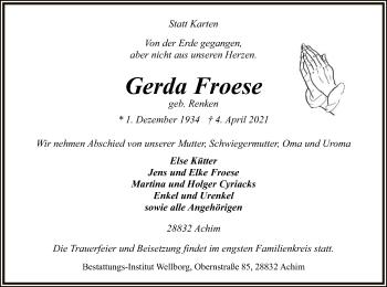 Traueranzeige von Gerda Froese von SYK