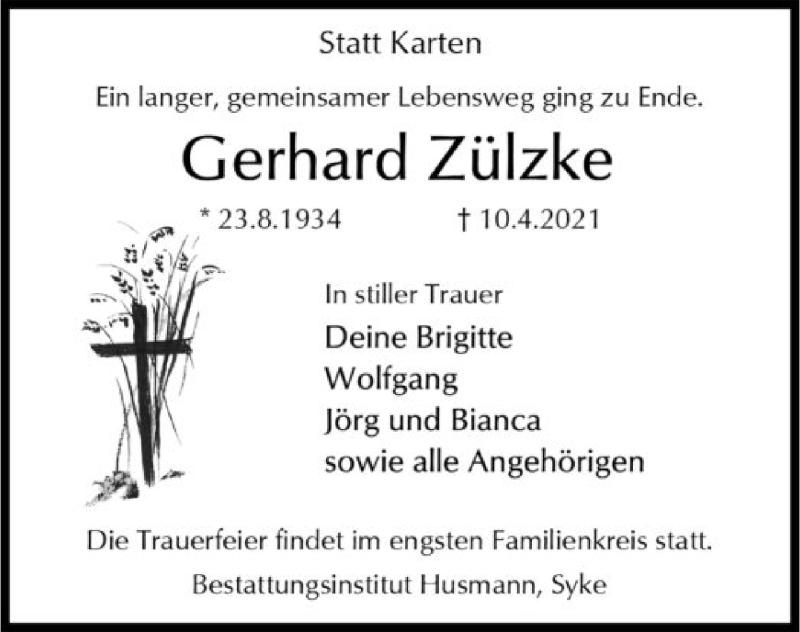 Traueranzeige für Gerhard Zülzke vom 15.04.2021 aus SYK