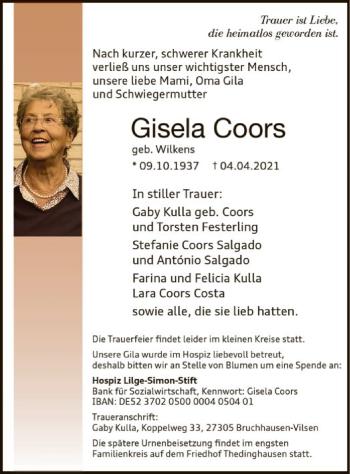 Traueranzeige von Gisela Coors von SYK