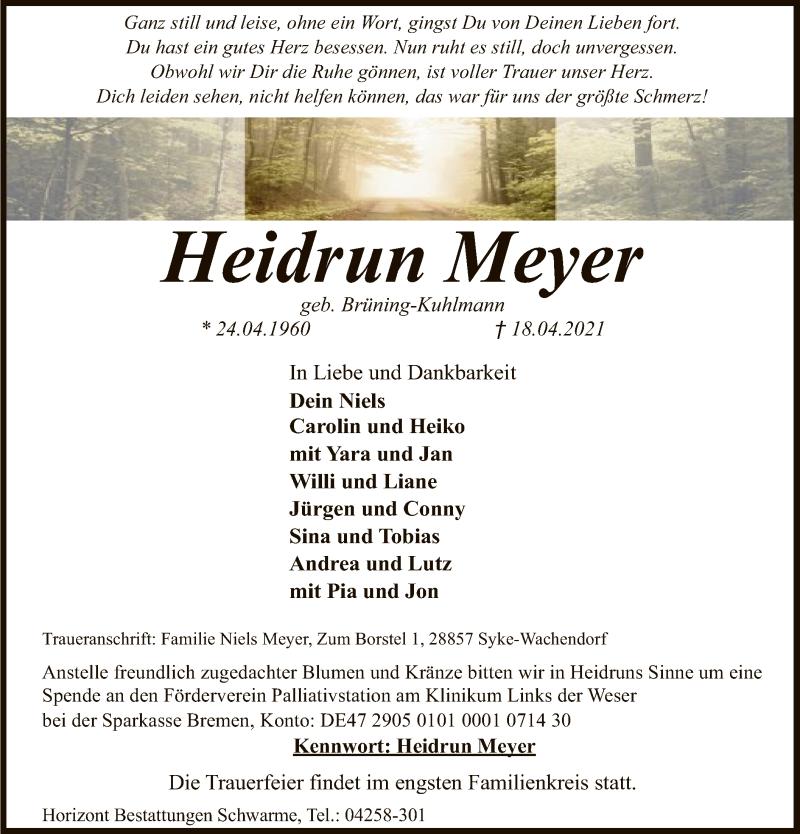 Traueranzeige für Heidrun Meyer vom 22.04.2021 aus SYK