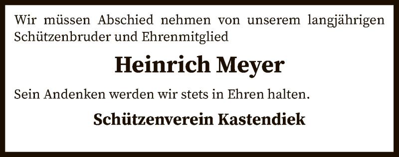Traueranzeige für Heinrich Meyer vom 07.04.2021 aus SYK