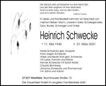 Traueranzeige von Heinrich Schwecke von SYK