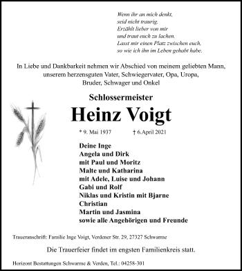 Traueranzeige von Heinz Voigt von SYK