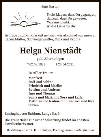 Traueranzeige von Helga Nienstädt von SYK