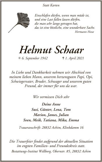 Traueranzeige von Helmut Schaar von SYK