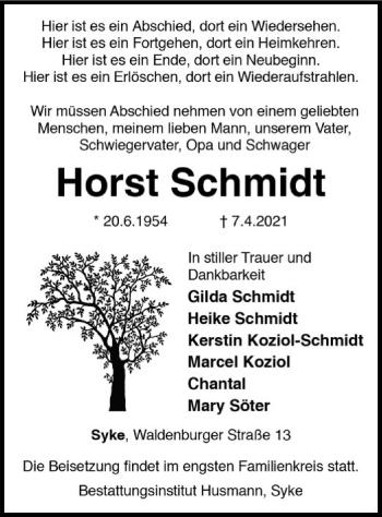 Traueranzeige von Horst Schmidt von SYK
