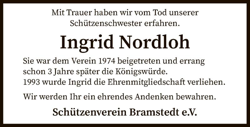 Traueranzeige für Ingrid Nordloh vom 08.04.2021 aus SYK