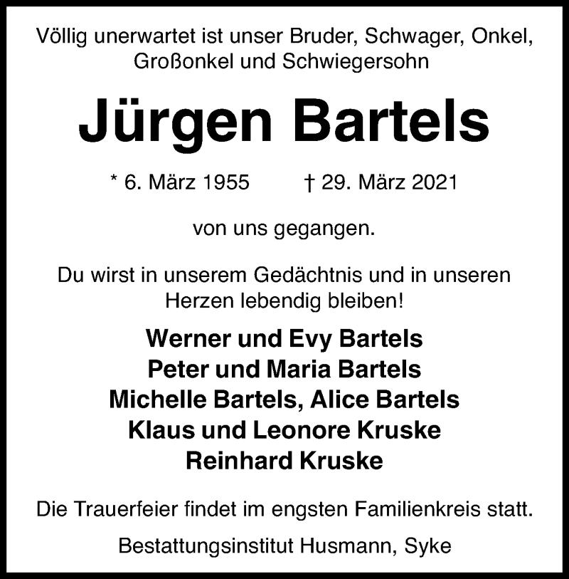 Traueranzeige für Jürgen Bartels vom 07.04.2021 aus SYK