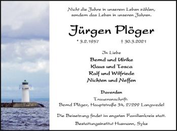 Traueranzeige von Jürgen Plöger von SYK