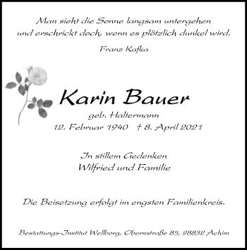 Traueranzeige von Karin Bauer von SYK