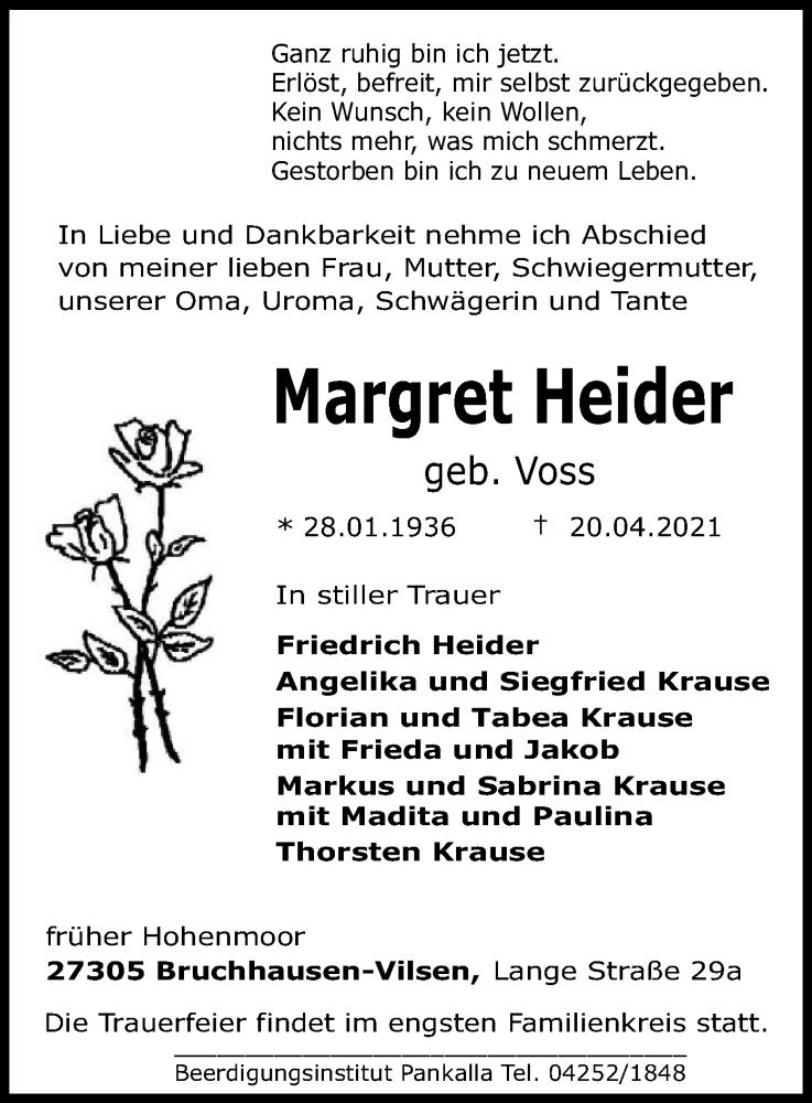 Traueranzeige für Margret Heider vom 24.04.2021 aus SYK