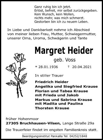 Traueranzeige von Margret Heider von SYK