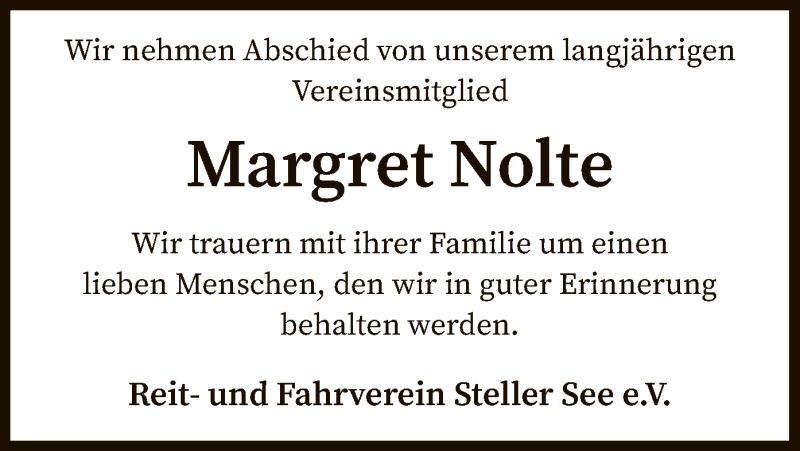 Traueranzeige für Margret Nolte vom 10.04.2021 aus SYK