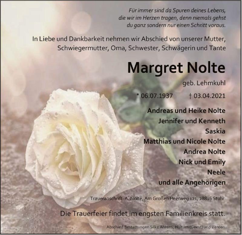 Traueranzeige für Margret Nolte vom 07.04.2021 aus SYK