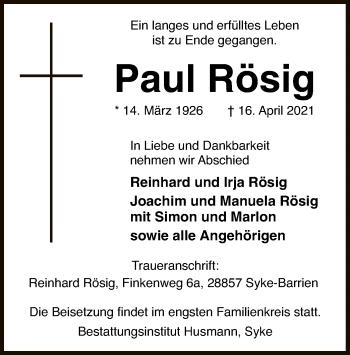 Traueranzeige von Paul Rösig von SYK