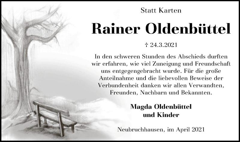 Traueranzeige für Rainer Oldenbüttel vom 30.04.2021 aus SYK